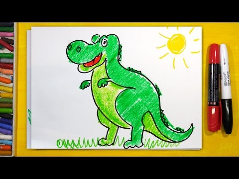 Тираннозавр, Как рисовать Динозавра | Урок рисования - раскраска для детей от 3 лет