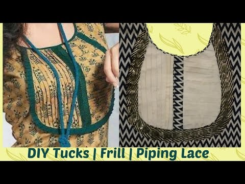 How To Cut And Stitch Designer Neckline With Tucks | Frills And Piping Lace
