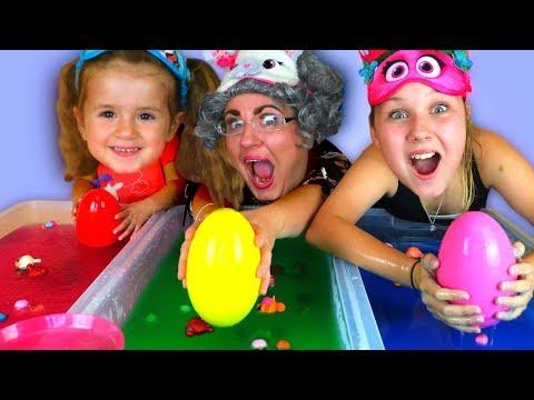 GELLI BAFF SLIME CHALLENGE GAME!! Greedy Granny, LOL Dolls & Surprise Eggs  
