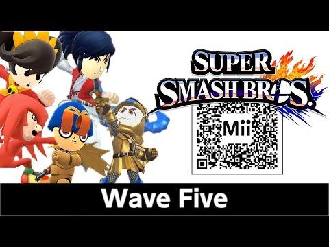 Geno, Takamaru, Ashley, Gil, & Knuckles Mii Fighter QR Codes for Smash Bros