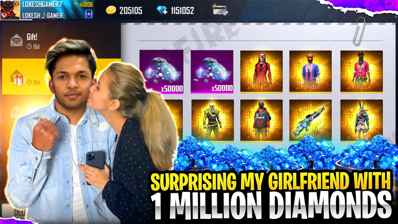 Surprsing My Girlfriend With 1Lakhs Diamond's 😱😱😱 [ HER REACTION ] Garena Free Fire