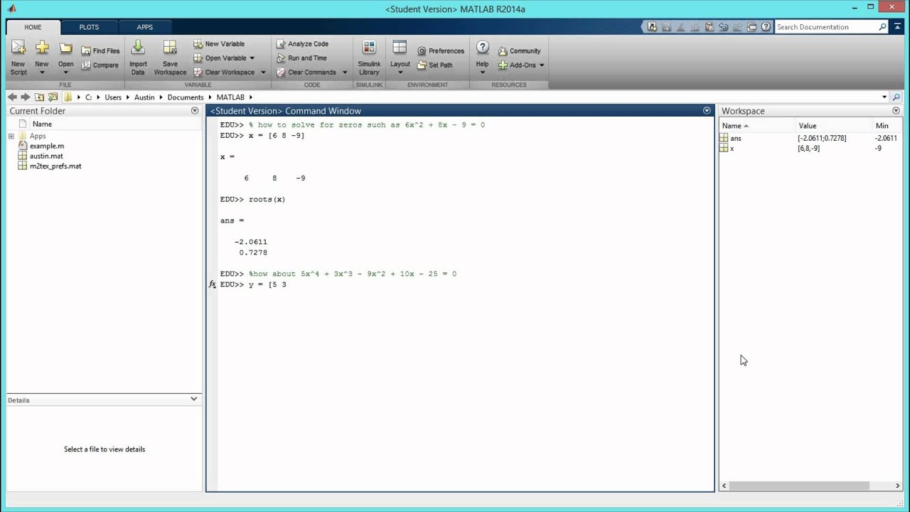 how to solve polynomial equations in matlab hd