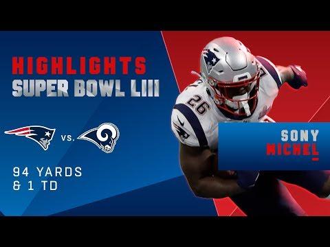 Best Runs by Sony Michel vs. Rams | Super Bowl LIII Player Highlights