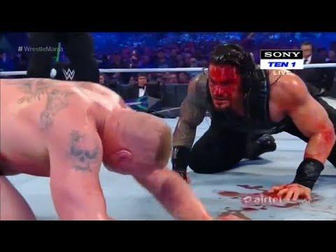 Full Match Brock Lesnar Vs Roman Reigns - Wrestle Mania 34