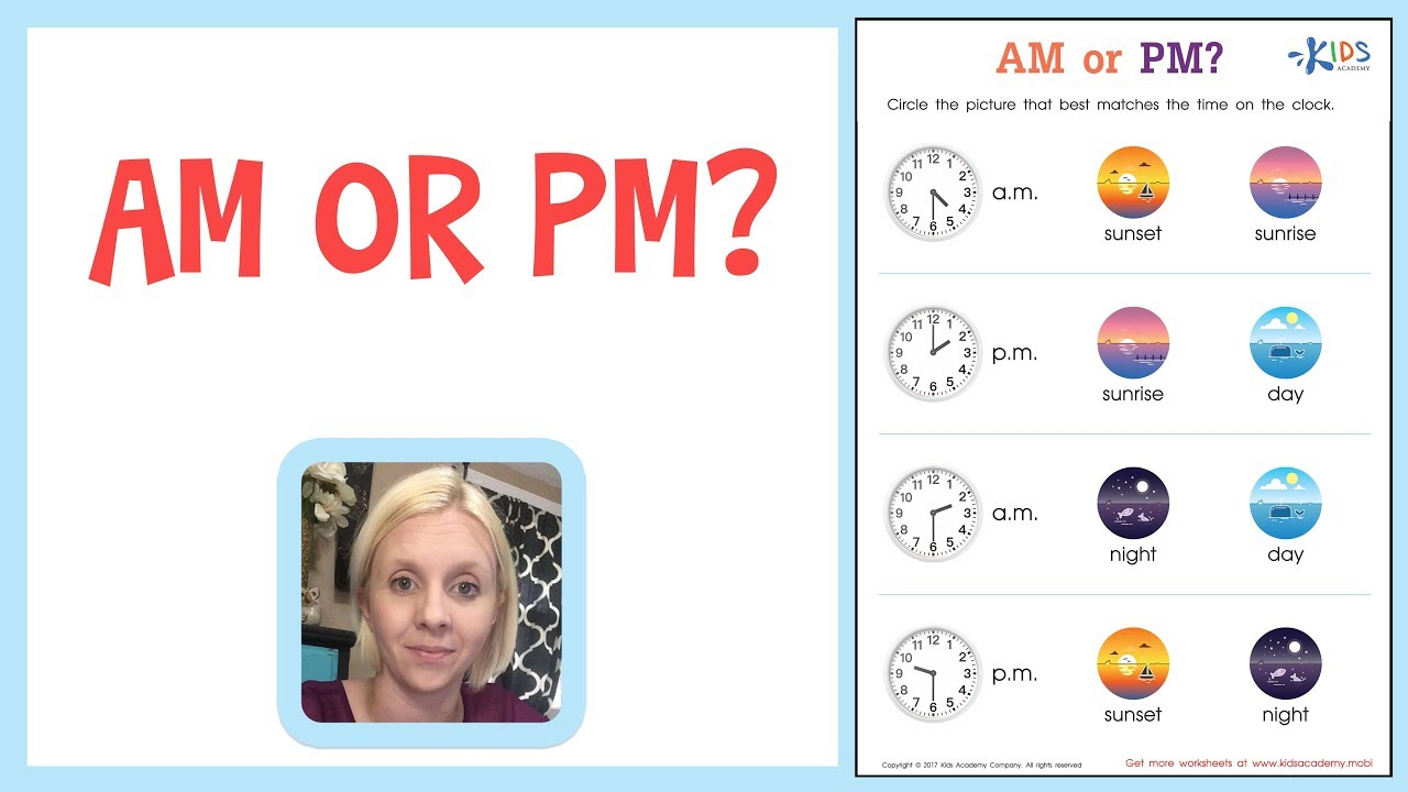 small resolution of Teaching Telling Time - A.M. or P.M. - Worksheets for 1st and 2nd Grade -  YouTube
