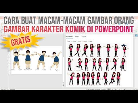 Cara Membuat Gambar Orang dengan Macam-Macam Karakter Komik di Power Point