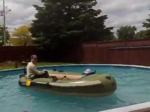 Bestway Hydro Force Voyager 500 Inflatable Boat With Trolling Motor In My Pool
