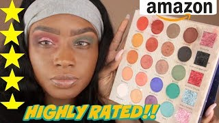 TESTING HIGHLY RATED $19 Amazon Eyeshadow + GLITTER Palette