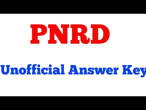 Unofficial Answer key of PNRD