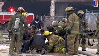 **Firefighter Down From Bucket** Detroit Fire Department - Box Alarm, Fisher Body Plant, 10/22/2014. thumbnail