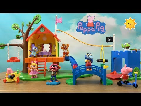 Pepa Pig Story: Peppa Pig Playground Fun with Muppet Babies Friends and Hello Kitty House