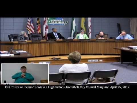 Eleanor Roosevelt High School Cell Tower Discussion at Greenbelt City Council 4/24/2017