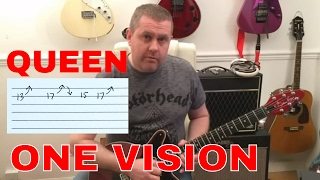 Queen - One Vision - Guitar Solo Tutorial with guitar tab