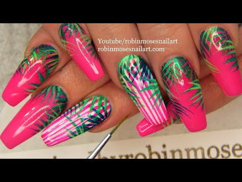 Hot Pink Diva Nails | Tropical Long Nail Art Design Tutorial thumbnail