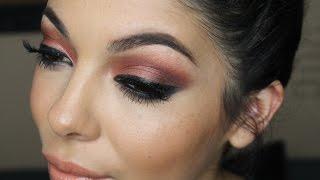Red Shimmery Smokey Cat Eye Makeup Tutorial