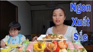 🇯🇵Ăn Gỏi Cuốn Cá Hồi Sống, Salad Tôm, Nấm Đùi Gà Sốc Bơ Tỏi Ngon Xuất Sắc#158