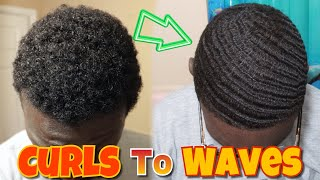 HOW I WENT FROM NAPPY CURLS TO 360 WAVES IN UNDER 30 MINUTES | CRAZY CURLS TO WAVES TRANSFORMATION