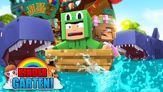 Minecraft Kindergarten - KIDS CHASED BY SHARKS! w/ Little Kelly