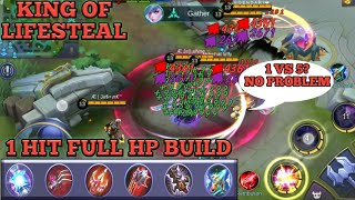 1 HIT FULL HP BUILD = AUTO SAVAGE | KING OF LIFESTEAL WITH FULL LIFESTEAL BUILD | MOBILE LEGENDS