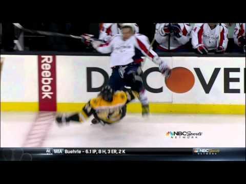 Dennis Seidenberg hit on Alex Ovechkin. Washington Capitals vs Boston Bruins 4/12/12 NHL hockey