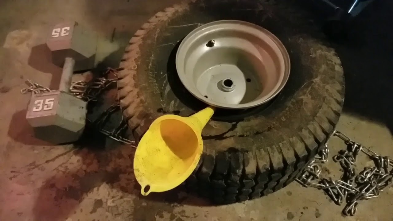 Adding 64 Lbs Of Weight To My Lawn Tractor Tires For