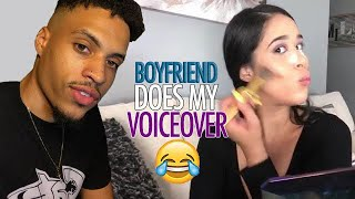 BOYFRIEND DOES MY MAKEUP VOICEOVER - CAN'T BELIEVE HE KNEW WHAT I USE! | Justus & Kayla
