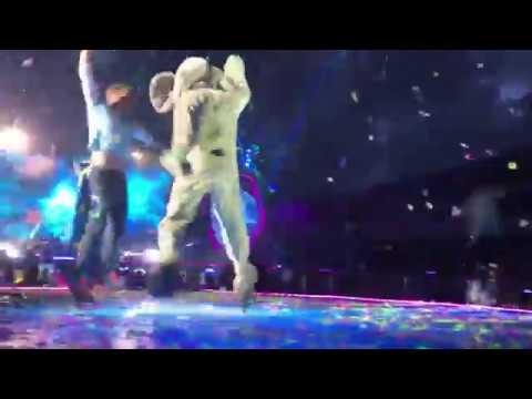 Elephant jumps on stage to dance with Chris Martin - Gothenburg, June 25
