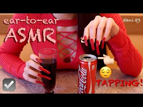 How do you open a can of coca-cola with LONG NAILS?⁉️ 🎧 intense ASMR: TAPPING TIN & CRYSTAL GLASS!🍸✶