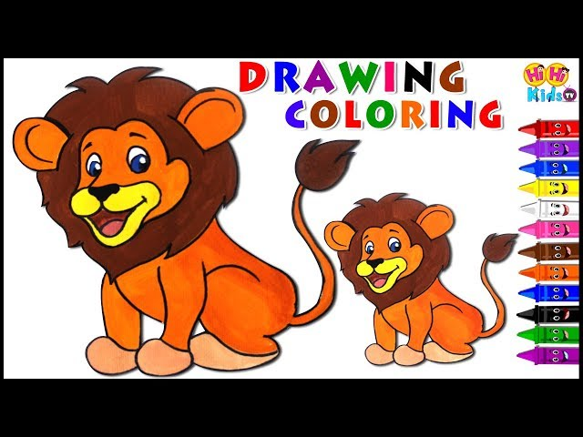 Lion Coloring Page for Kids | Color Learning Video for Children | Coloring Pages Animals