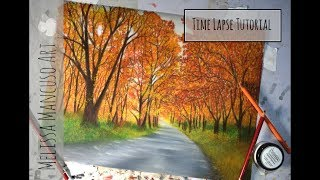 Autumn Landscape Drawing in Colored Pencil with Powder Blender - Melissa Mancuso Art