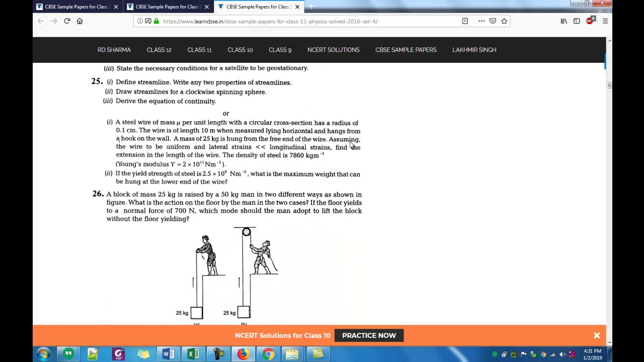 CBSE Sample Papers for Class 11 Physics Solved 2016 Set 4