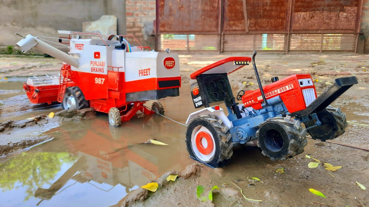 Swaraj 855 tractor model stuck out combine from mud