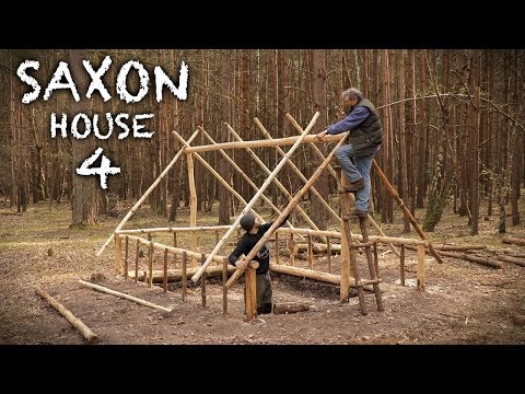 Building a Saxon House with Hand Tools: Rafters and Roof Frame | Bushcraft Project (PART 4)