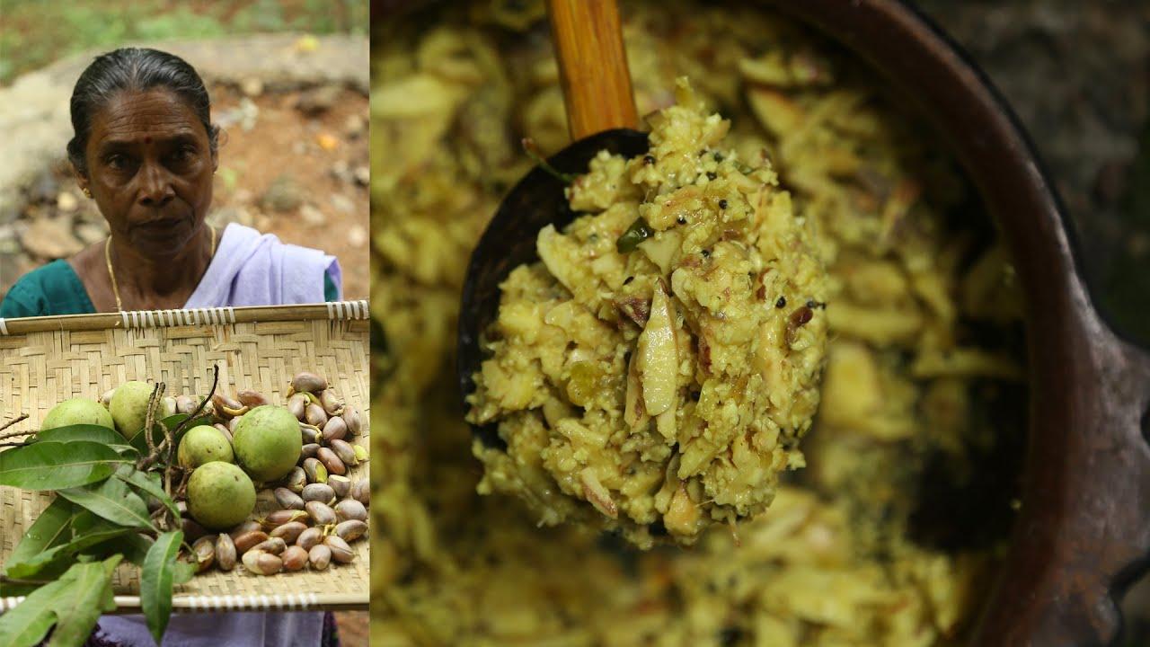 ഉണക്കമീനും ചക്കക്കുരുവും മാങ്ങഇട്ട് ഒരു തോരൻ   Kerala Style Jackfruit Seeds - Mango Dry Fish Recipe