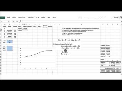 Forecasting Techniques: Trend-Corrected Exponential Smoothing Method (Holt's Method)