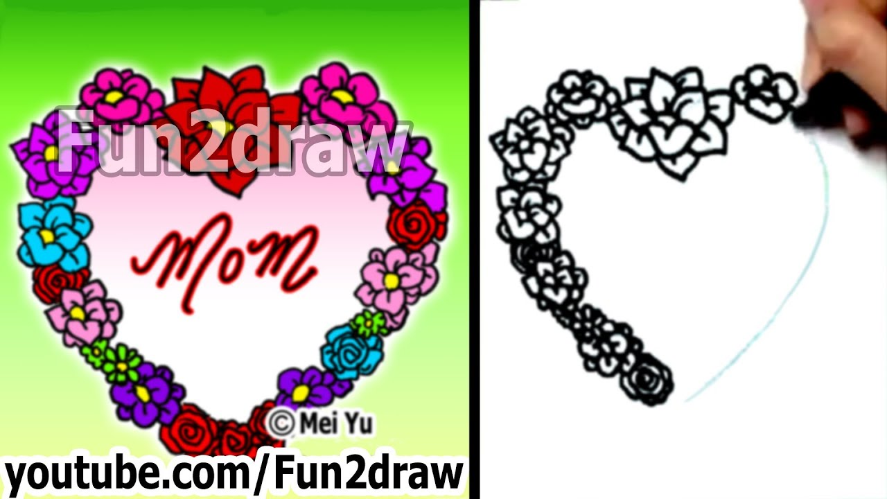 How To Draw A Heart  Rose & Flower Heart Of Love  Fun Things To Draw   Fun2draw