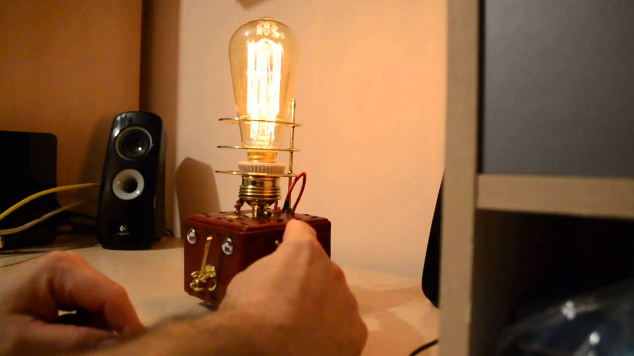 Steampunk Lamp With Dimmer And Edison Lamp Youtube