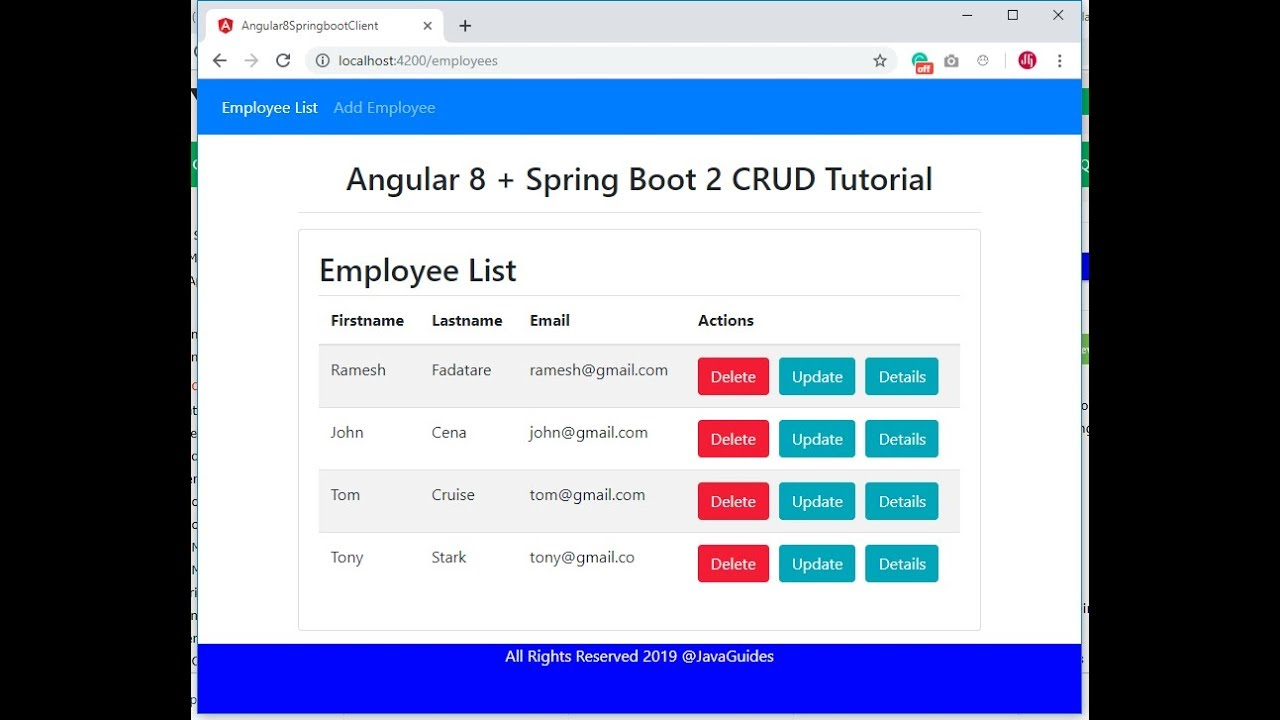 Spring Boot 2 + Angular 7 CRUD Example Tutorial
