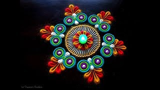 Very easy and small rangoli for beginners | Simple and elegant rangoli