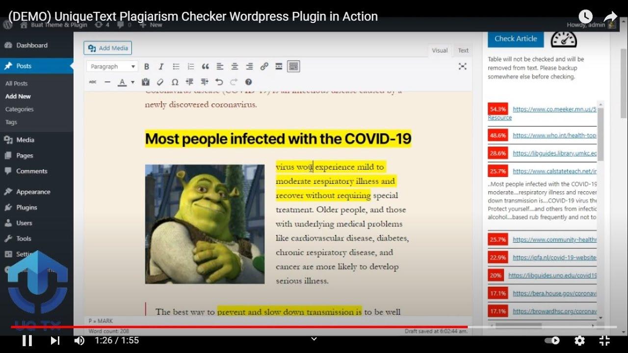 (DEMO) UniqueText Plagiarism Checker Wordpress Plugin in Action