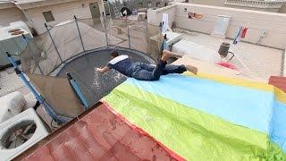 تحدي نتزحلق من فوق السطح على النطيطه  | نهاية مفحط ضد لاعبين باركور !! فلوق#33
