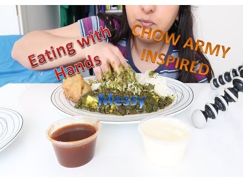 Chow Army style eating with hands (Messy eating) ASMR/Mukbang/Palak Paneer