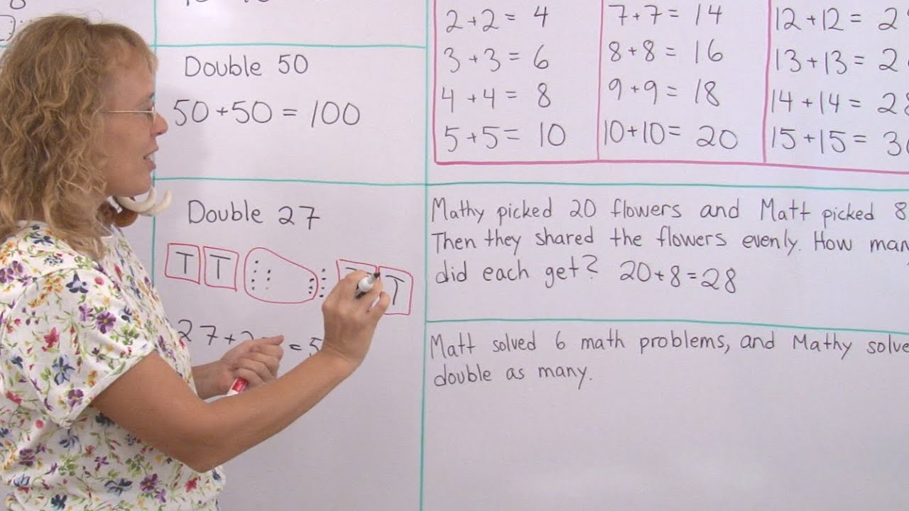 Doubling - find doubles of numbers - easy math lesson for 2nd grade -  YouTube [ 720 x 1280 Pixel ]
