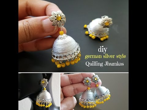Making Quilling Jhumkas German Silver Style||Oxidized silver jhumka||Light Weight Jhumkas(Tutorial)