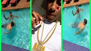 NBA YoungBoy GETS INJURED when TRYiNG TO JUMP IN THE POOL!!!