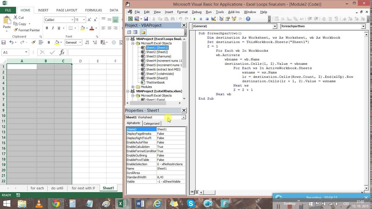 VBA Looping through Workbooks and Worksheets - YouTube