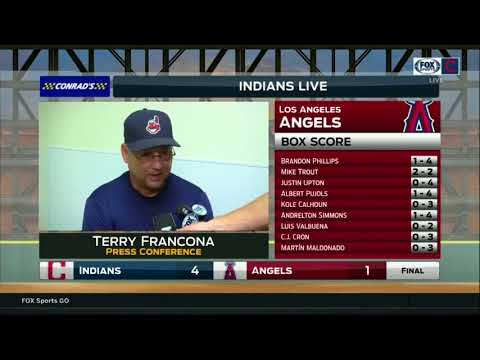 Cleveland Indians manager Terry Francona discusses bullpen's big day after 4-1 win
