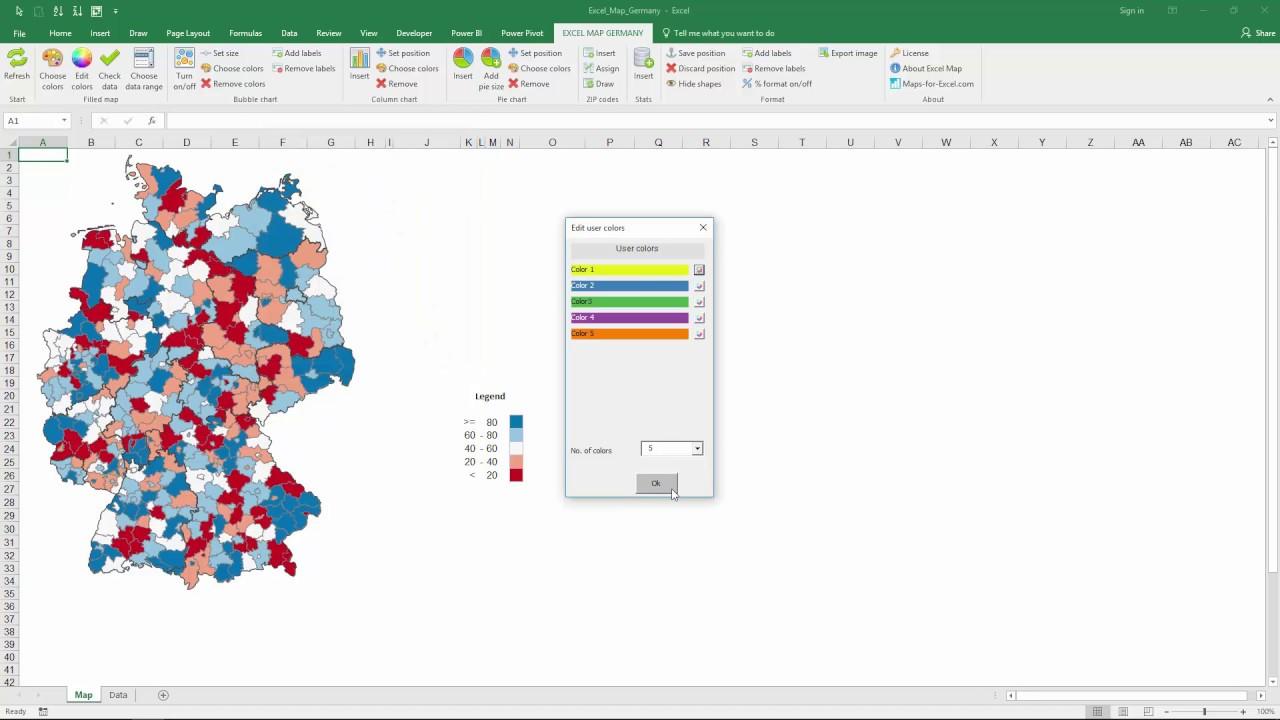 Neue Version der Excel Karte am Beispiel von Deutschland - YouTube