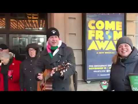 'Come From Away' cast serenades fans outside box office