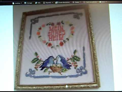 Paseo por mis cuadros de punto de cruz youtube for Cuadros cocina punto de cruz